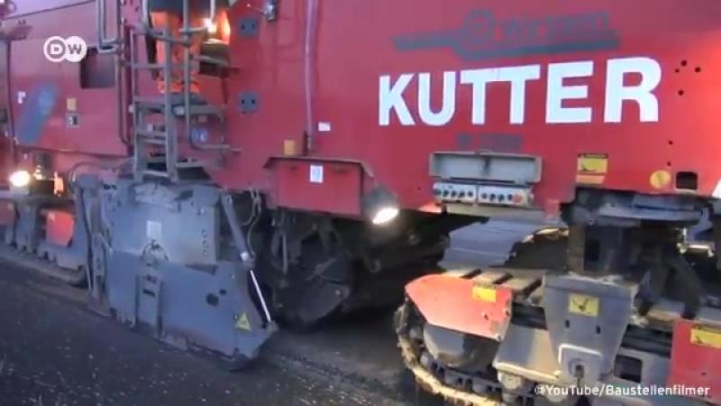 4 километра одного из самых загруженных автобанов Германии - трассы А9 в районе Мюнхена отремонтировали ударными темпами за 48 ч