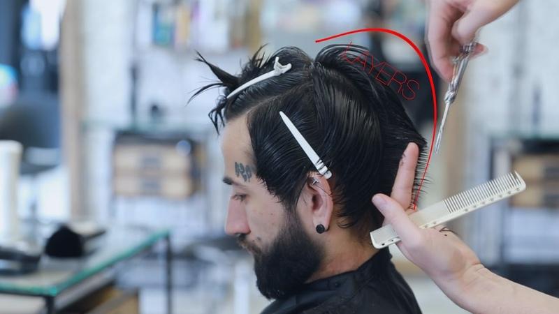Men's short layers haircut and short fringe