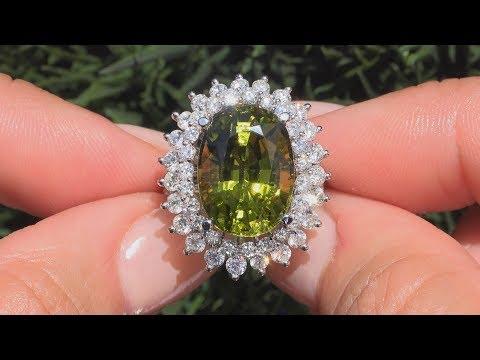 GIA 12.77 tcw IF Green Chrome Tourmaline Diamond Cocktail Ring 14k White Gold - C952