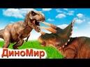 Тираннозавр против Трицератопса. Терра наелась колючек и победила Блэка. Динозавры мультфильм