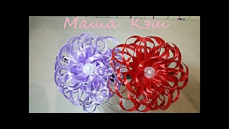 Простые и красивые цветы канзаши из узкой ленты 0.6 см, мастер класс от Маши Кэш