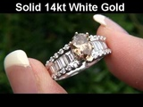2.07 Carat Fancy Natural Champagne Diamond Engagement Wedding Ring 14K Gold