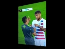Deandre Yedlin talking to referee about Neymar's diving