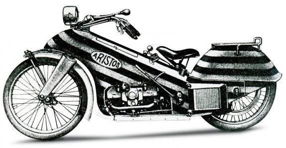 Немецкий Aristos 1923 года – первая попытка тотально закапотировать мотоцикл.