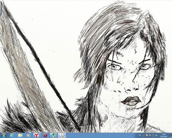 Рисуем на планшете. Lara Croft