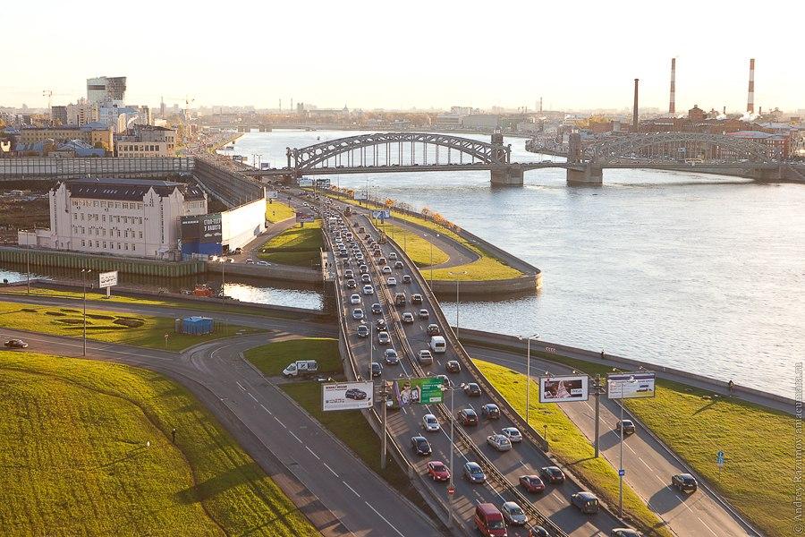 Санкт-Петербург Охта Малоохтинский мост и мост Петра великого