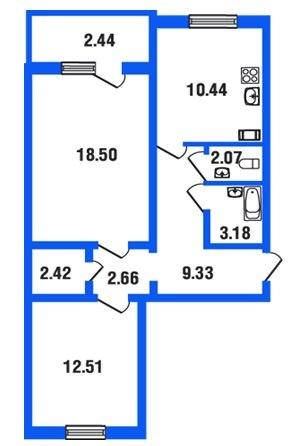 Площадь квартиры 63,6 кв м,