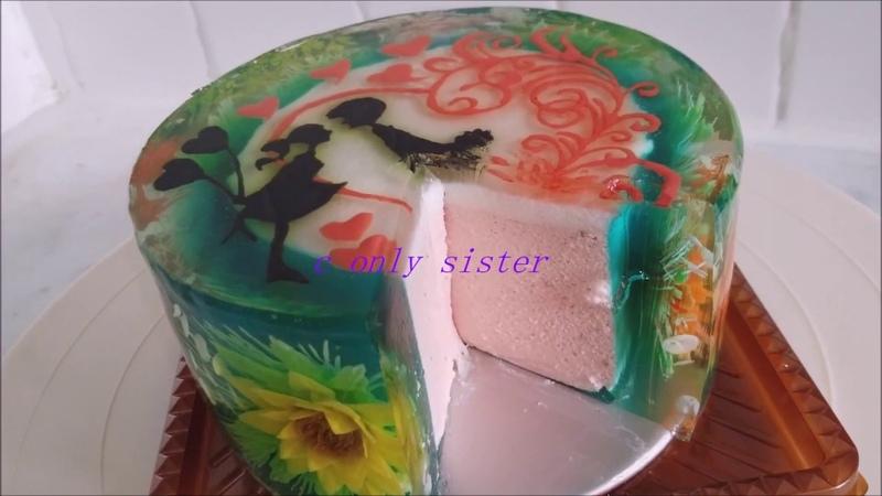 Happy valentines day.... gelatin art ..花花啫喱蛋糕
