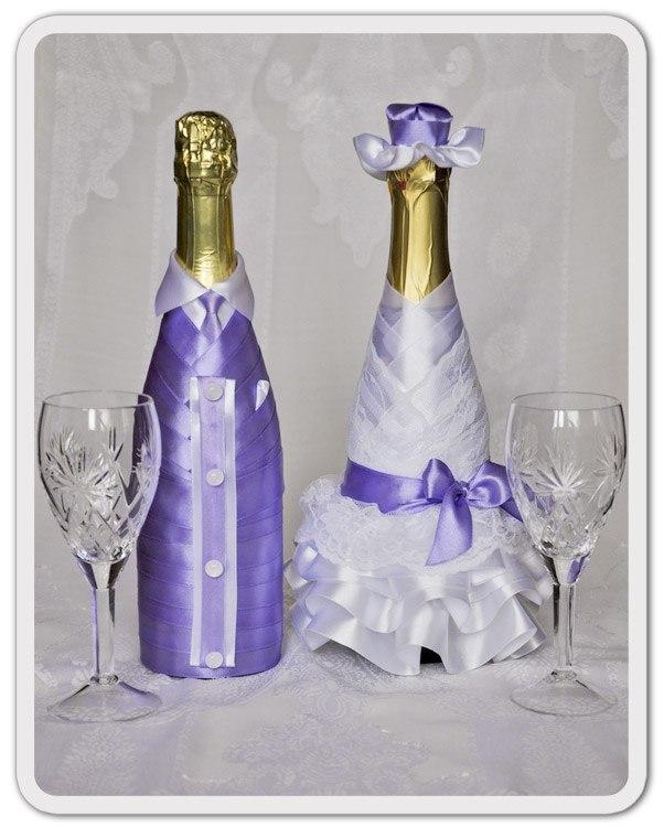 Декор бутылок атласными лентами свадебные бутылки