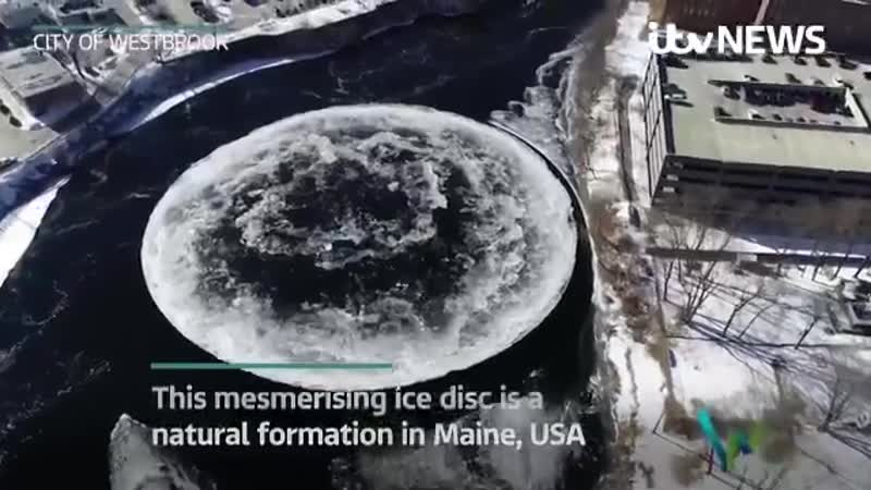 This stunning disc of ice is rotating on a river in the US after it formed on top of a whirlpool More