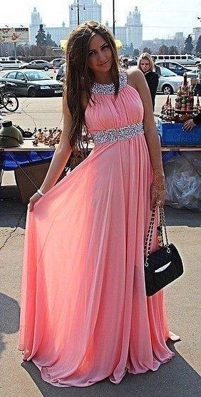 нежно розовые платья в пол фото