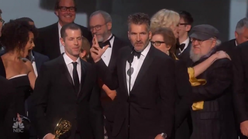 Game Of Thrones creator D.B. Weiss thanks the cast and crew for best drama Emmys win!