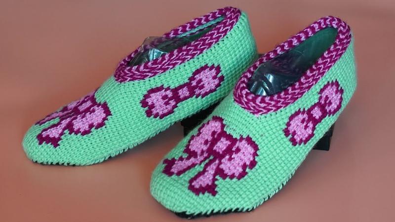 Подошва тапочек. Подошва крючком. Тапочки крючком. (Crochet slippers)
