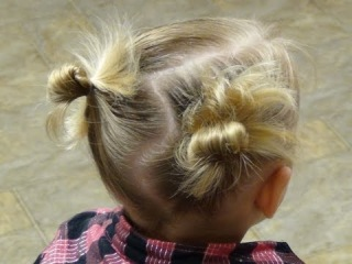 Little Girl Hairstyle - Pigtails With Messy Bun Hairstyle