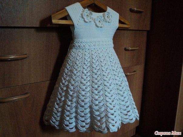 Вяжем праздничное платье для девочки (7 фото) - картинка