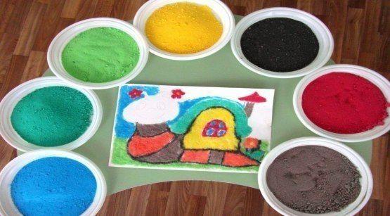 ЦВЕТНОЙ ПЕСОК ДЛЯ АППЛИКАЦИЙ СВОИМИ РУКАМИ Цветной песок это простая смесь обычного песка и пищевого красителя.Нам понадобится:Морской или речной песок светлого оттенка;красители: гуашь, пищевые
