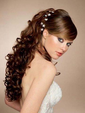 Причёска на выпускной фото на средние волосы с челкой