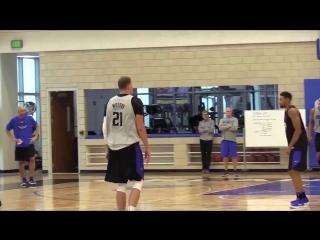 Adam Shadoff - Center Timofey Mozgov making an uncontested 3-pointer