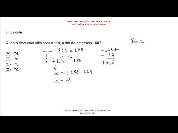 Cálculo Valor Desconhecido Questão 8 Matemática