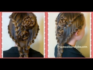 Lace Braid Rose Hairstyle For Long Hair, Hair4myprincess