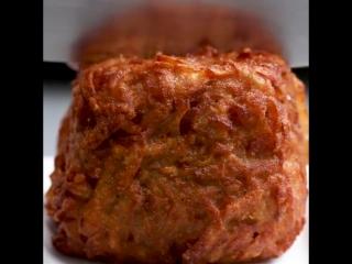 Драники с ветчиной и сыром(ham and cheese hash brown cubes)