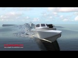 NFA Simulation of a Planing Boat in Waves View of Bow Looking Up