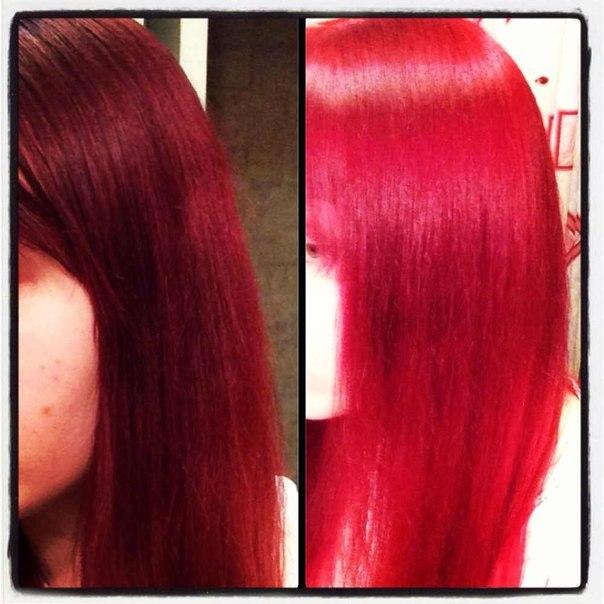 Красный тоник на тёмные волосы фото до и после