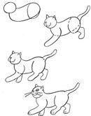 Как нарисовать кота в движении поэтапно карандашом, схема!