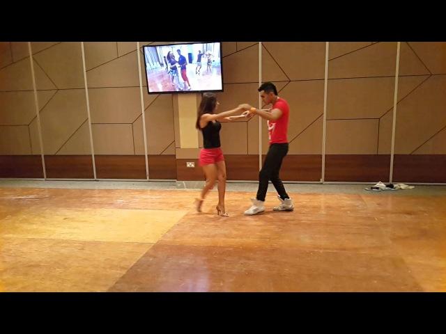 Demo primeira aula oman salsa zouk festival 2016 Michael boy Aline Borges