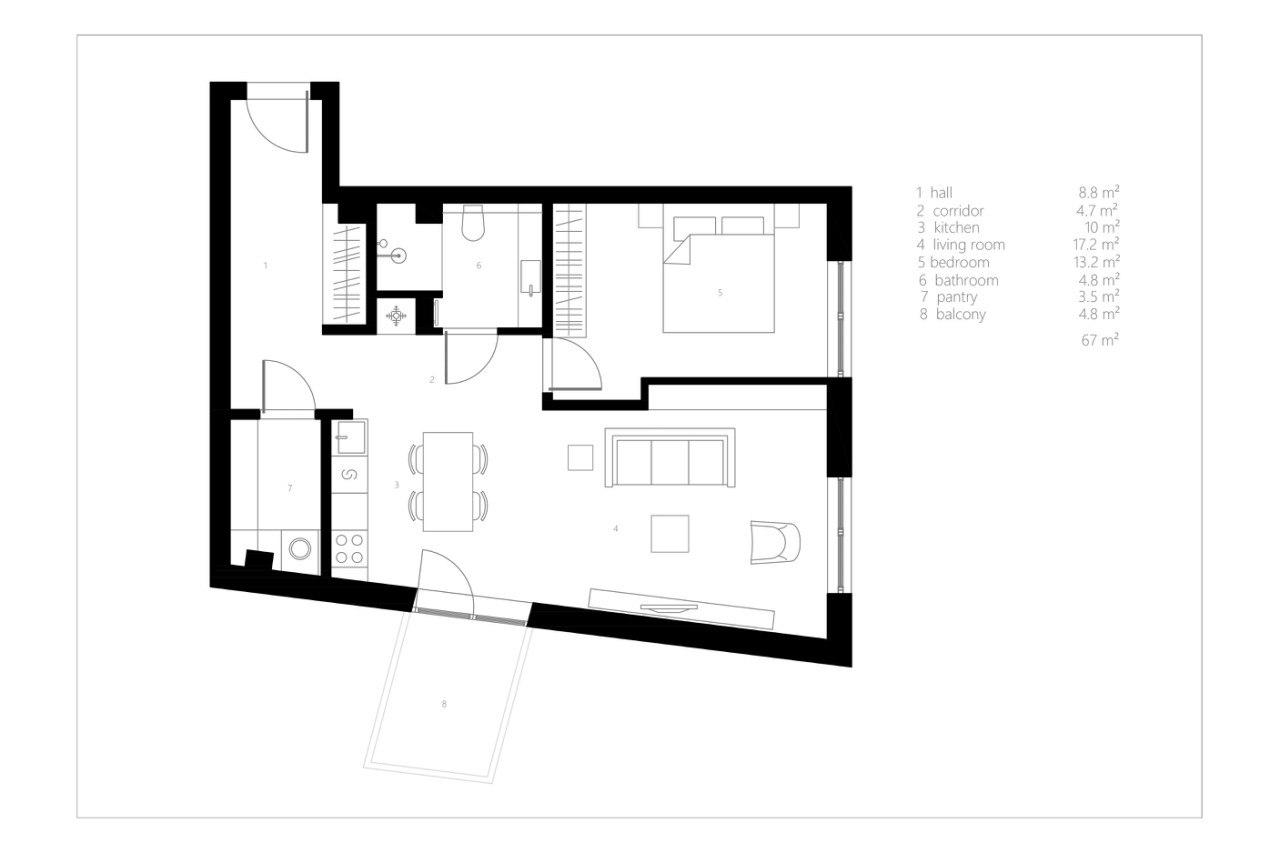 Современное пространство с ретро нотками, 67 кв.