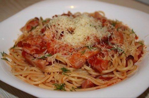 Спагетти под соусом с ветчиной Состав: 400 г спагетти, 100