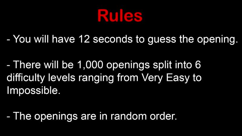 Sarcasm317 Anime Opening Quiz 1 000 Openings Very Easy Impossible