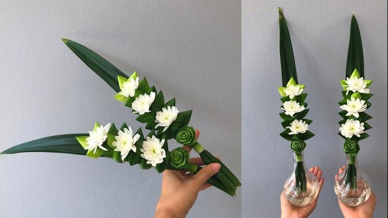 พับใบเตยดอกกุหลาบ แบบง่ายๆ สำหรับไหว้พ