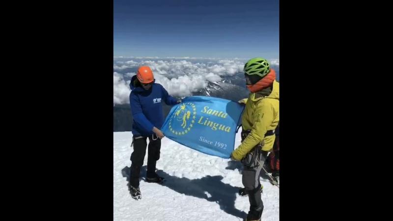 Флаг Santa Lingua на горе Mont Blanc
