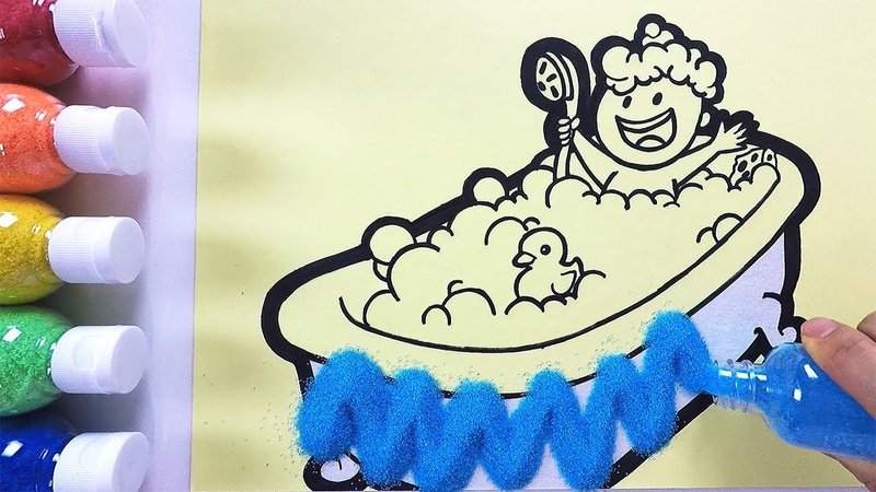 The baby in a Bathtub coloring drawing studying English for kids ㅣ 욕조에 있는 아기 그리기 색칠하기 영어 공부