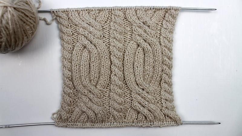 Оригинальная коса из полос Вязание спицами😍😍😍