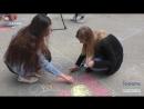 Візерунки крейдою на асфальті: флешмоб Слобожанський орнамент