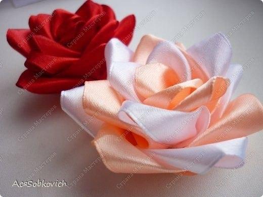 Канзаши из ленты 2.5 см розы