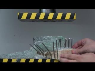[life hacks & experiments] experiment glass vs nail bed (hydraulic press 100 ton)