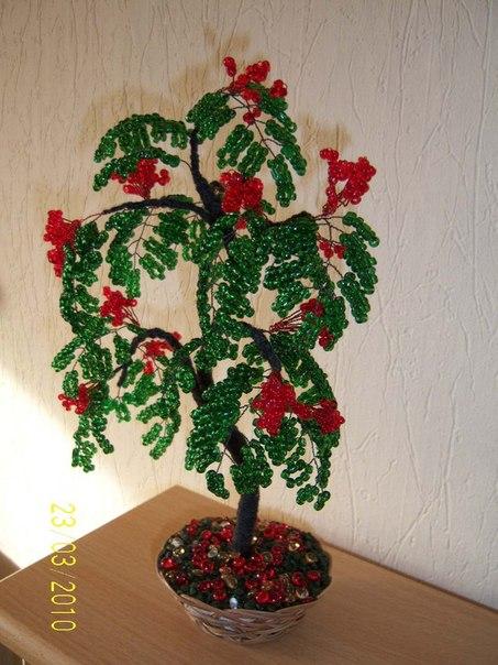 дерево рябина бисера пошаговая