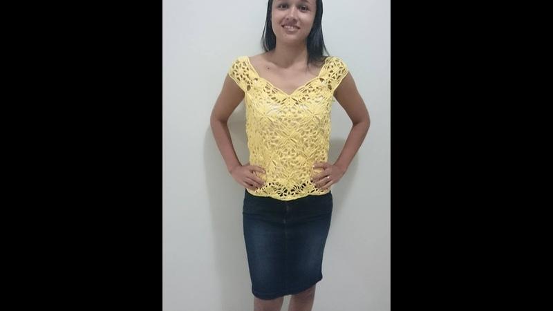 Blusa ou cropped em croche com square final (Canhoto)