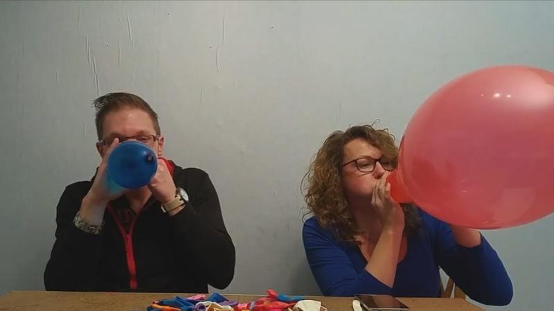 Odd shaped balloon challenge girl vs guy chubby bunny blow to pop
