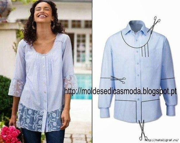 Идеи переделок рубашек (5 фото) - картинка