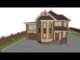Типовой двухэтажный дом с сауной с гаражом  E-109-ТП