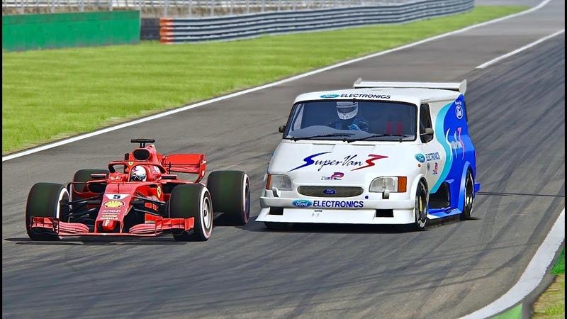 Ferrari F1 2018 vs Ford Supervan F1 Engine - Monza