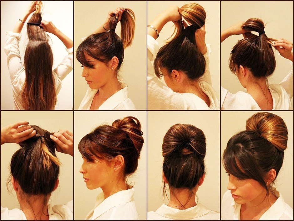 Как быстро сделать причёску самой себе на средние волосы