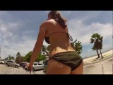 Big Boob airbags in Bikini - Bouncy Cycle Safety First...