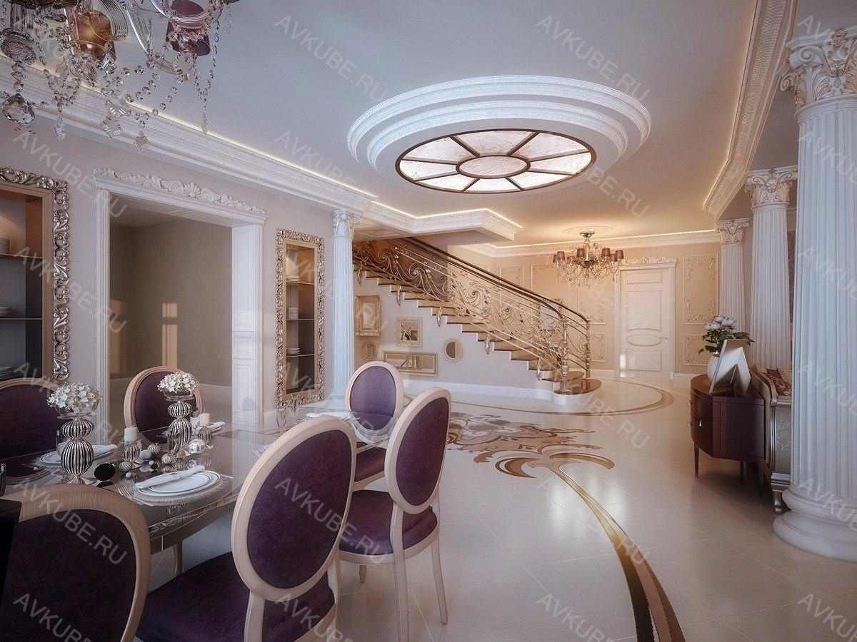 Дизайн частного дома внутри в неоклассике