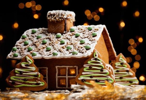 рецепты новогоднего торта домик из печенья