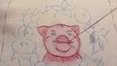 МК по вышивке Хрюндель в цветах ч 3 вышиваем свинку продолжение тёмно розовый цвет